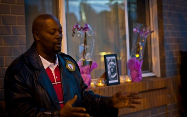 Image of Fred Bryant at monthly vigil he conducted for his son