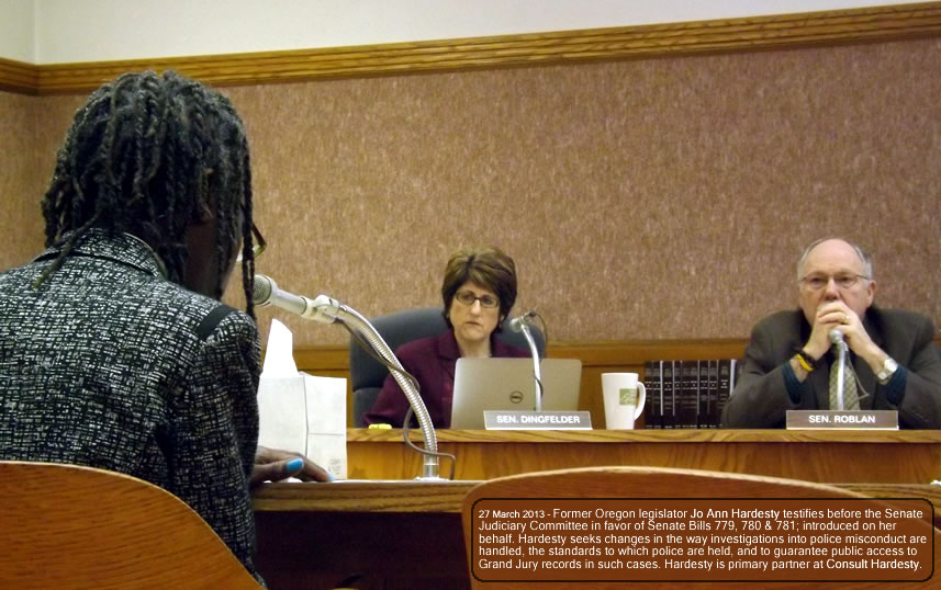Jo Ann Hardesty testifies before Oregon's Senate Judiciary Committee, 27 March 2013.